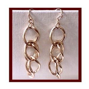Gold Link Dangling Earrings with French Hooks